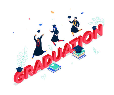 Graduation concept - modern colorful isometric vector illustration Ilustração