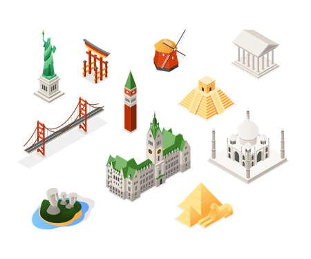 World famous landmarks - colorful isometric set of objects. Statue of Liberty, Holland windmill, Torii, Brooklyn bridge, Moai, pyramids, Taj Mahal, Hamburg city hall, Parthenon, St Mark Campanile Illustration