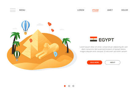 Visit Egypt - modern colorful isometric web banner with copy space for text. Website header with famous landmark, Giza pyramids, sphinx, balloon, hearts and map pointers. Travel and vacation concept