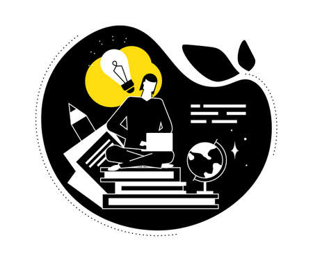 Copywriting concept - flat design style vector illustration. Black, yellow, white composition with female freelance SEO specialist, sitting in lotus position, writing text on laptop, books, lightbulb
