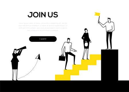 Rejoignez-nous - bannière web de style design plat