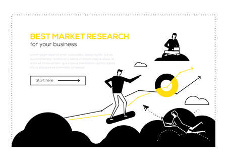 Best market research- flat design style web banner