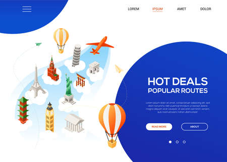 Hot deals, popular routes - colorful isometric web banner with copy space for text. Website header with world famous landmarks. Statue of Liberty, Eiffel tower, Big Ben, Kremlin. Traveling concept