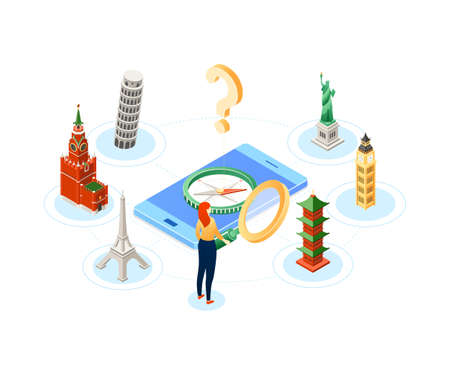 Popular travel destination - modern colorful isometric illustration with a tourist with a loupe, smartphone with compass, landmarks, Kremlin, Pisa, Eiffel towers, Big Ben, pagoda, Statue of Liberty