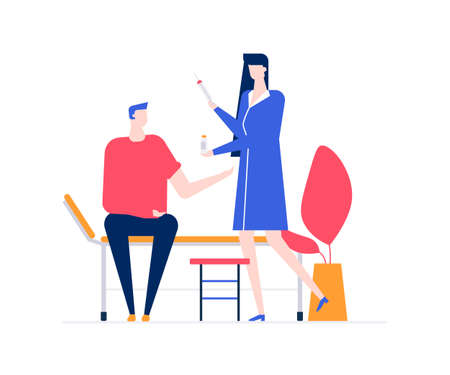 Visiting a doctor - colorful flat design style illustration on white background. A composition with a young man, patient with a broken leg in a wheelchair, a doctor. Medicine, healthcare concept Illustration