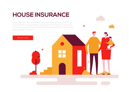 House insurance - colorful flat design style web banner on white background with copy space for text. A composition with a family, parents with a baby standing at the building. Protection of property Stock Illustratie
