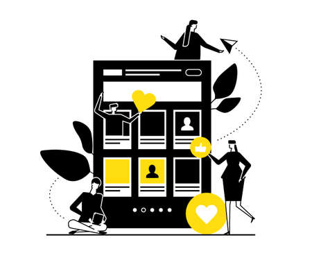 Dating app - flat design style vector illustration. Black, yellow and white composition with male, female characters chatting online, using mobile applications searching for romantic relationships Illustration