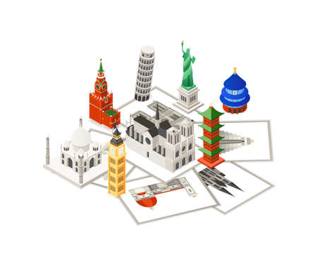 Travel around the world - colorful isometric illustration with famous European and Asian landmarks and photos. Statue of Liberty, Big Ben, Temple of Heaven, Taj Mahal, Cologne and Florence Cathedrals