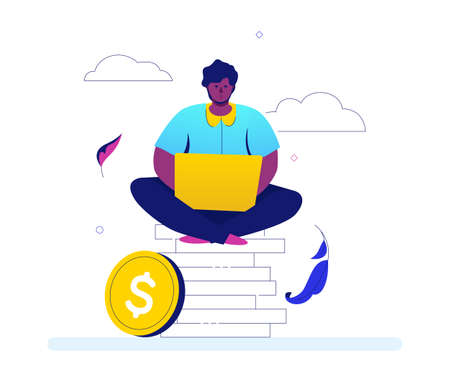 Making money - flat design style colorful illustration on white background. A bright composition with a businessman, office worker sitting on a big pile of coins, working at the computer, laptop