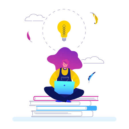 Creativity at work - flat design style illustration on white background. A young female worker, freelancer sitting on books with a laptop, image of a lightbulb. Perfect for a website and mobile apps Vektorové ilustrace
