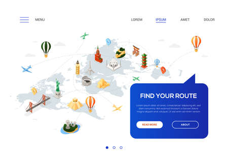 Find your route - colorful isometric web banner with copy space for text. Website header with world famous landmarks, Statue of Liberty, Torii, pyramids, Eiffel tower, Colosseum, Brooklyn bridge, moai Illustration