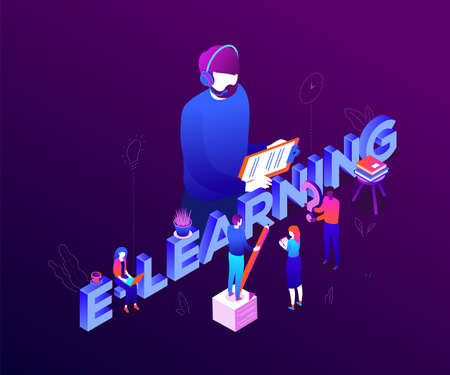 E-learning concept - modern colorful isometric vector illustration on purple background with inscription. Male, female students making notes, teacher in headset with clipboard. Online education theme Illustration