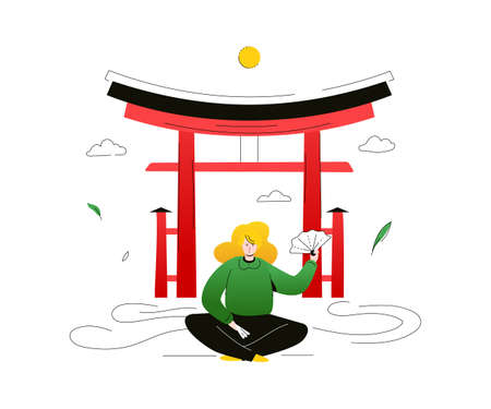 Visit Japan - colorful flat design style illustration on white background. A composition with a woman, tourist with a fan sitting at Torii gates, national symbol. Traveling and vacation concept