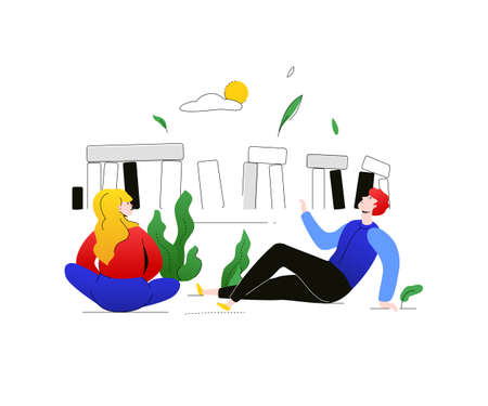 Visit England - colorful flat design style illustration on white background. A composition with male, female tourists talking with each other, sitting at Stonehenge. Traveling and tourism concept