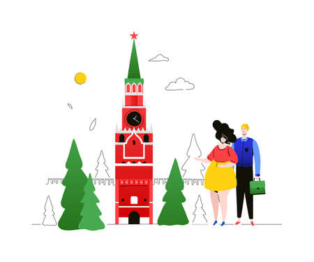 Visit Russia - colorful flat design style illustration