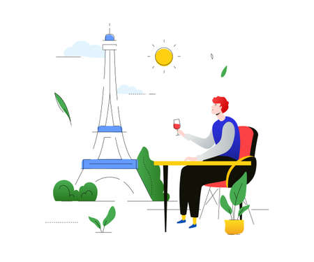 Travel to France - colorful flat design style illustration on white background. A composition with a French landmark, Eiffel tower, a boy sitting in the cafe, drinking wine. Tourism concept