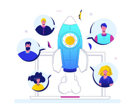 Startup - modern flat design style colorful illustration on white background. An image of business people, male, female characters launching the project, sending up a rocket. Company website on laptop