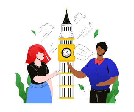 Visit the UK - colorful flat design style illustration on white background. A composition with male, female tourists talking with each other, standing at Big Ben. Traveling and tourism concept Ilustração