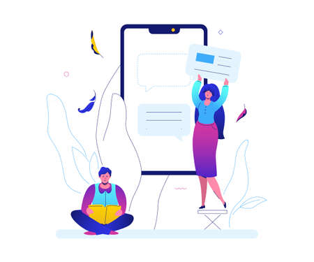 Online chatting - flat design style colorful illustration