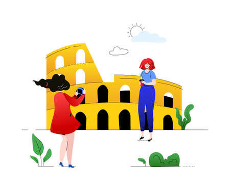 Travel to Italy - colorful flat design style illustration on white background. A composition with girls, friends taking pictures at an Italian landmark, Colosseum in Rome. Vacation and tourism concept
