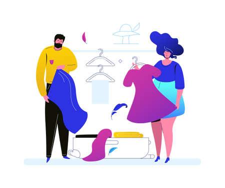 Andare in vacanza - illustrazione di stile design piatto colorato su sfondo bianco. Una composizione con una coppia carina, moglie e marito che preparano borse, vestiti, si preparano per un viaggio. Concetto di viaggio Vettoriali