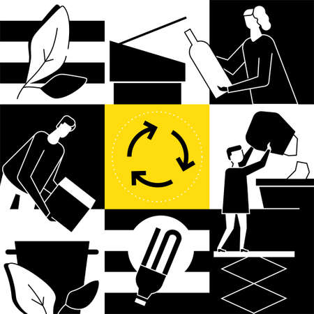 Recycling - modern flat design style conceptual illustration. Black and white composition with family, man, woman, boy sorting waste, throwing litter into bins for glass, paper, lightbulbs. Eco theme