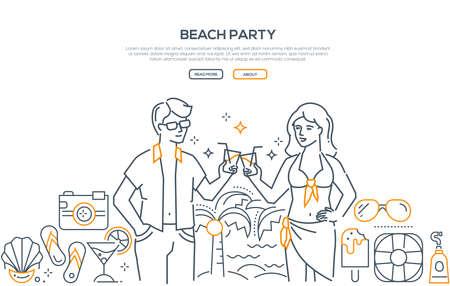Beach party - modern line design style banner