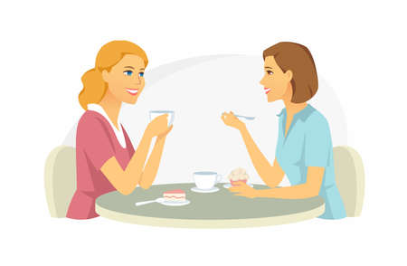 Girls in the cafe - cartoon people characters illustration on white background. High quality colorful composition with smiling pretty women, friends chatting at the table, drinking coffee, eating cake Banque d'images - 124131040