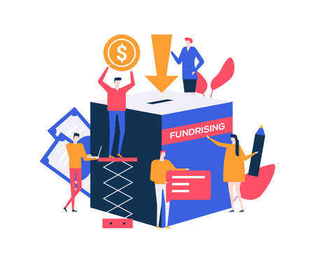 Make a donation - colorful flat design style illustration on white background. A composition with male, female characters raising money for charity, supporting social campaign. Fundraising concept