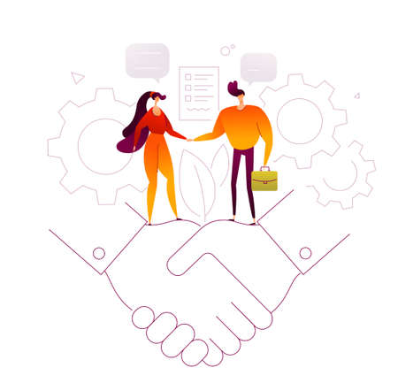 Business agreement - modern flat design style illustration on white background. Quality composition with a woman shaking hands with man, signing a contract. Linear image of a handshake, gears