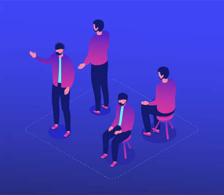 Bearded man - modern vector isometric character set isolated on blue background. A collection with a male employee wearing jacket in different positions, sitting on a stool, standing front, back