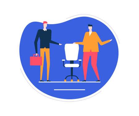 Verfügbare Vakanz - bunte Illustration der flachen Designart auf weißem Hintergrund. Ungewöhnliche Zusammensetzung mit männlichen Personalmanagern, die nach einem Kandidaten, einem neuen Mitarbeiter suchen, den freien Stuhl zeigen, Arbeitsplatz Vektorgrafik