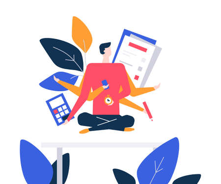 Mindfulness at work - colorful flat design style illustration on white background. Composition with a businessman, male manager meditating in the office, trying to release stress. Multitasking concept Vettoriali