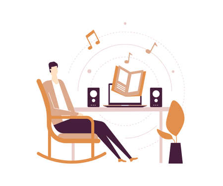 Listening to audiobooks - flat design style illustration on white background. Quality composition with a young man in headset sitting at home in a chair, enjoying a book from the laptop with speakers