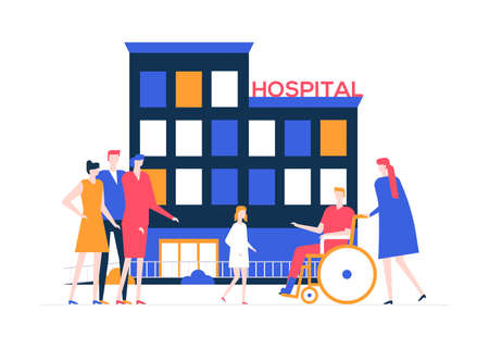 Discharge from the hospital - colorful flat design style illustration on white background. A composition with a young man, patient with a broken leg in a wheelchair, a doctor. Family meeting him Illustration
