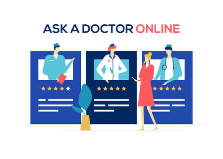 Ask a doctor online - colorful flat design style illustration on white background. A composition with a woman looking at doctors ratings on the website, using mobile app. Digital medicine concept Reklamní fotografie - 124109241
