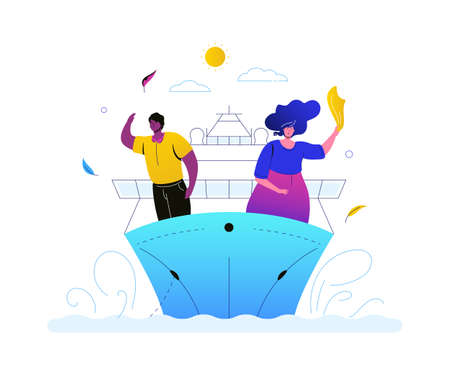 Sea travel - colorful flat design style illustration on white background. A bright unusual composition with a couple, man and woman on a cruise ship, liner, going on vacation, waving. Tourism concept Illustration