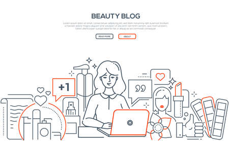 Beauty blog - modern line design style web banner on white background with copy space for text. Composition with young woman, female blogger broadcasting, working at the laptop, reviewing cosmetics