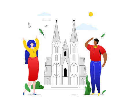 Travel to Germany - colorful flat design style illustration