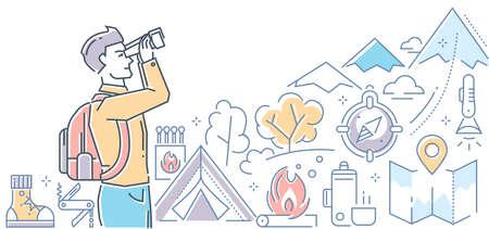 Tourism - modern colorful line design style illustration Illustration