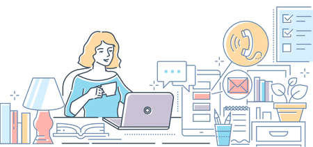 Freelance - modern line design style colorful illustration on white background. High quality composition with a young female specialist sitting at the laptop, drinking coffee, working from home