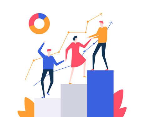 Motivación - ilustración de vector de estilo de diseño plano colorido sobre fondo blanco. Composición de calidad con un equipo empresarial, compañeros y compañeras subiendo un diagrama de sectores, ayudándose unos a otros Ilustración de vector