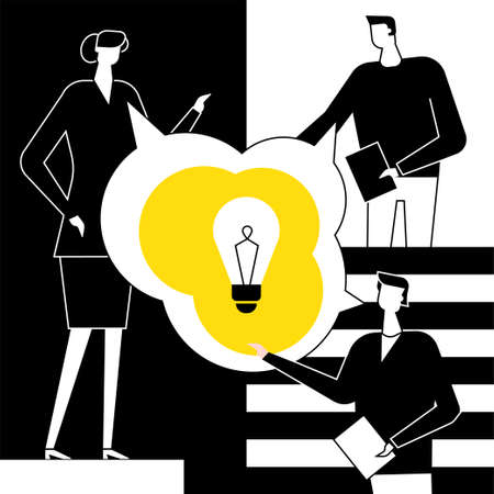Bright idea - flat design style vector illustration. Black, yellow, white composition with colleagues, staff, business people talking, brainstorming, image of lightbulb. Teamwork, creativity concept