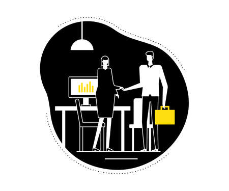 Job interview - flat design style vector illustration. Black, yellow and white composition with a female HR specialist shaking hands with a male candidate in the company office. Recruitment theme