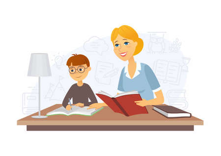 Tutor - modern vector cartoon people characters illustration on white background. A colorful composition with a female teacher holding a book, a boy, student writing in his copybook. Lesson at home Ilustração