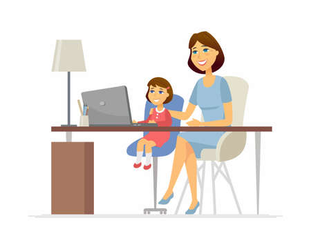 Mother and daughter at the laptop - cartoon people characters illustration on white background. Young parent helping her kid to do homework, learn computer science, sitting at the desk. Family concept Ilustração