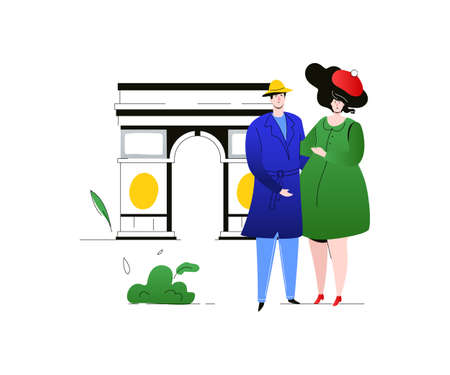 Travel to France - colorful flat design style illustration on white background. A composition with cute stylish couple, tourists hugging, French landmark, Triumphal arch. Tourism and vacation concept