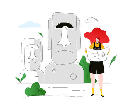 Visit Easter Island - colorful flat design style illustration on white background. A composition with a female tourist, looking at the map, standing at Moai, statues. Traveling and tourism concept Standard-Bild - 124080286