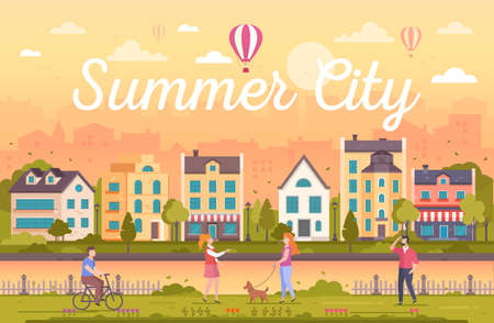 Summer city - modern flat design style vector illustration on orange background with heading. Urban landscape with nice buildings, cafes, trees, fence, lanterns, people walking, cycling, talking