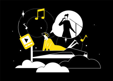 Listening to music - flat design style illustration. High quality black, yellow and white composition with female character, woman lying in bed, enjoying the song of her favorite singer, a concert Stock Illustratie